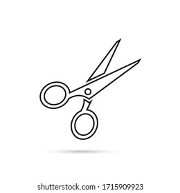 Vector scissors icon on white background. Linear style design icon
