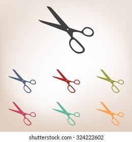 Vector scissors icon set