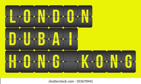 vector scoreboard. London, Dubai, Hong Kong flip cities, destination signs isolated on yellow background