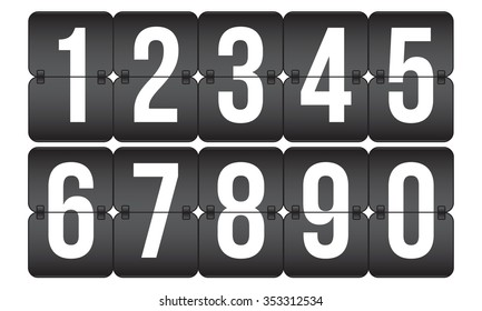 vector scoreboard, retro flip black and white numbers isolated