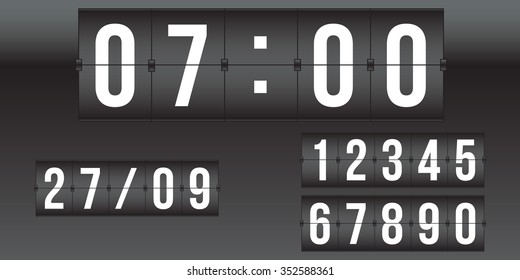vector scoreboard, retro flip clock,  black and white numbers isolated