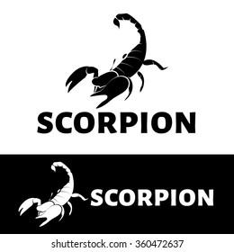 Vector Scorpion logo.  Black and white scorpion logotype