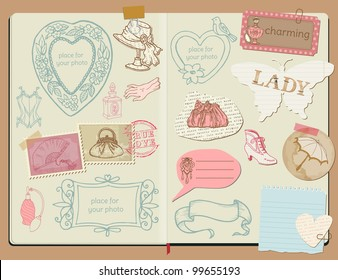 Vector Scrapbook Design Elements - Vintage Lady Set -  hand drawn in notepad