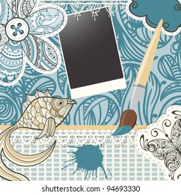 vector scrapbook design pattern on seamless background.