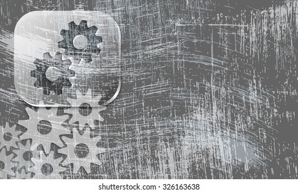 Vector scratched background and transparent cogwheels