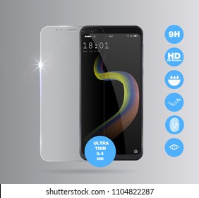 Vector screen protector film or glass cover. Screen protect Glass. Realistic smartphone vector
