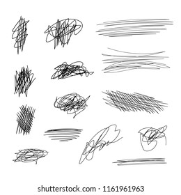 Vector Scribble Lines Set, Black Brush Strokes on White Background.