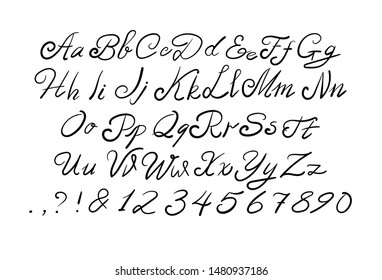 Vector script, black handwritten letters on white background, calligraphic type set template.