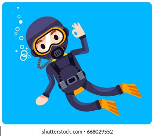 Vector scuba driver character on blue background