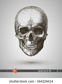 Vector scull. Dot, point. On a white background. Graphical illustration of pointillism. Music party. Hand drawing.