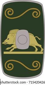 Vector scutum (shield) of ancient Roman XVIII Gallic Legion (Legio XVIII Gallica)