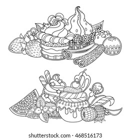 Vector se dessert composition in doodle style. Floral, ornate, decorative, sweets design elements. Black and white background. Cupcakes cake cream candy. Zentangle coloring book page