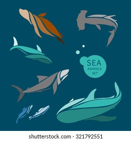 vector sea animals set. It can be used for logo, textile design, icon.