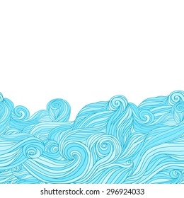 Vector sea background with abstract hand-drawn waves