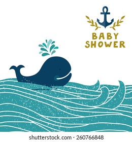 "Vector sea background with waves, whale, anchor and golden text ""Baby shower"". Cute childish background. Invitation template."