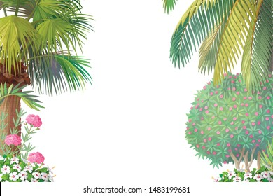 vector Sea border background. Cartoon summer clip art