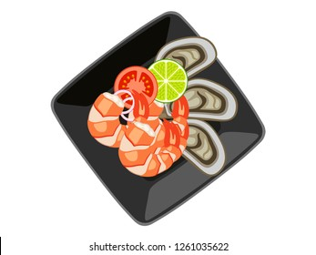Vector sea food  (Tomyam) in black cup White background