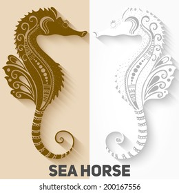 Vector Sea Horses. Mehndi style. Silhouettes with long shadow