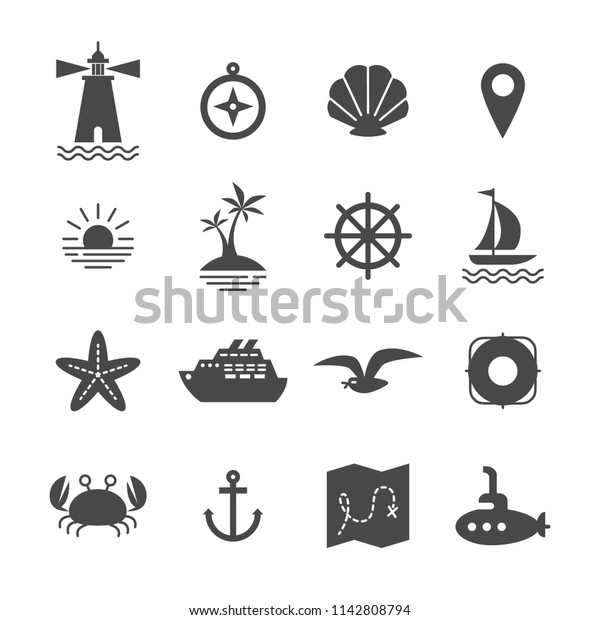 Vector Sea Icons Collection Cute Solid Stock Vector (Royalty