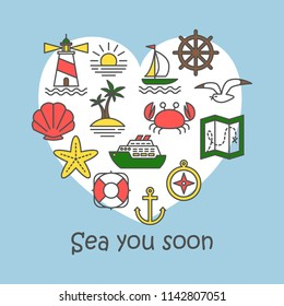 Vector sea icons collection. Sea you soon. Cute heart shape illustration for greeting card and print on t-shirt. Eps 10