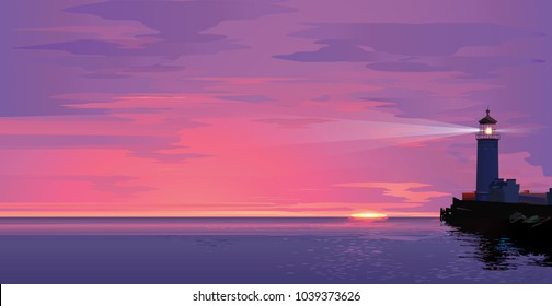 Vector sea landscape with lighting lighthouse at sunset or sun rise. Design template in trendy style navigational and travel concept. Biblical Beacon in realistic style.