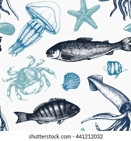 Vector Sea life background. Hand drawn Mussels, fish, crab, starfish, squid, jellyfish, shellfish sketch. Vintage nautical pattern.