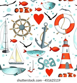 Vector sea pattern with nautical elements on white background. There are lighthouse, seagulls, sail boat, life buoy, fish, wheel and anchor. Imitation of watercolor.