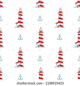 Vector sea seamless pattern with lighthouse, anchor and waves. Blue and white seamless set. Marine background for poster, invitations, textile, wedding, wallpaper and web design. Summer illustration.