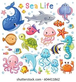 Vector Sea set. Sea animal in children's style. Cartoon fish.
