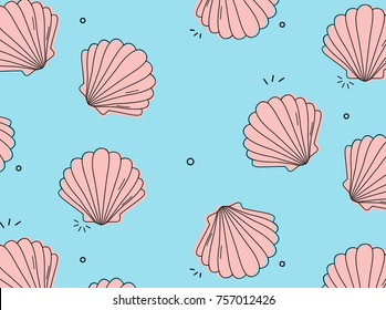Vector sea shell pattern. Luxury leisure mollusk cover. Ocean pink color pop sketch. Travel trendy summer texture. Happy vacation print