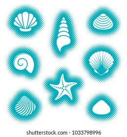 Vector sea shells and starfish icons halftone style