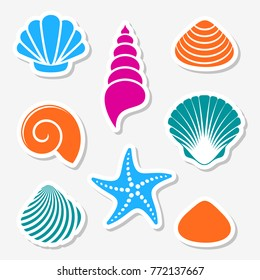 Vector sea shells and starfish labels with shadows