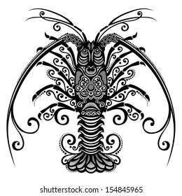 Vector Sea Spiny Lobster. Patterned design