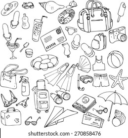 vector sea and travel set of sketch, hand drawn infographic sketches,  line drawing design elements
