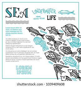 Vector sea underwater life background. School of fish for your design. Doodles black and blue fish swim together. There is copy space for your text.