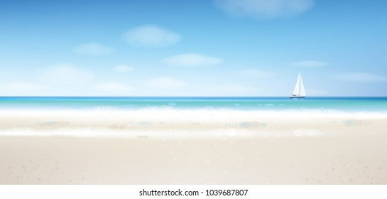 Vector sea view with  yacht, blue  sky and sandy beach.