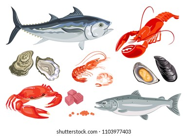Vector seafood in flat style isolated on white. Simple icons of mussel, salmon fish, shrimp, caviar, lobster, crayfish, crab, oyster and tuna. Template for magazine, poster, market, menu, web, banner.