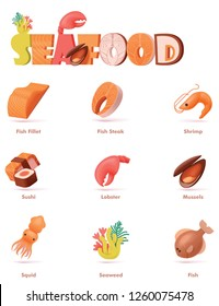 Vector seafood icon set. Includes colorful and bright fish fillet and steak, shrimp, lobster, mussel, squid, sushi and seaweed icons