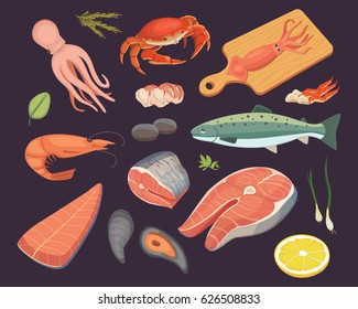 Vector Seafood illustrations set flat fresh fish and crab. Lobster and oyster, shrimp and menu, octopus animal, shellfish lemon