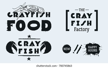 Vector seafood labels: hand drawn illustrations, ink lettering. CRAYFISH FOOD with lobster. The CRAYFISH Factory. Claw illustration with line, star decoration and text CRAYFISH. Blots NEW, HAPPY HOURS