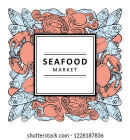 Vector seafood market restaurant, cafe logo, advertising poster with square underwater animals delicacy sketch pattern. Marine composition with octopus crawfish, lobster flatfish with lemon slice