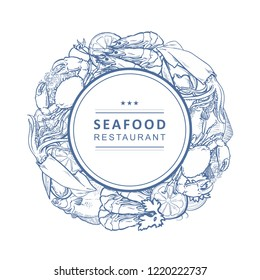 Vector seafood restaurant, cafe logo, advertising poster with circle underwater animals monochrome pattern. Marine composition with crawfish, lobster flatfish squid with lemon slice