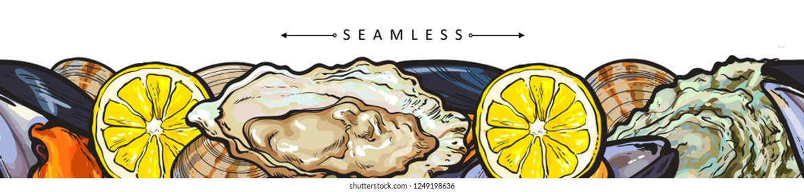 Vector seafood seafood seamless pattern with underwater animals delicacy sketch. Marine package design, poster template with mussels, oyster seashell with lemon slice