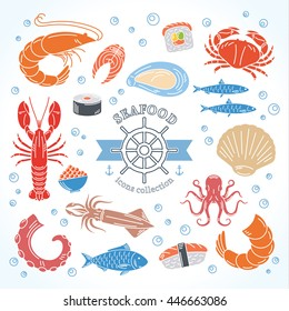 Vector seafood and sushi colorful icons collection