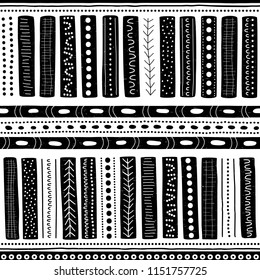 Vector seamless aboriginal pattern including ethnic Australian motive with white and blue typical elements of dots, lines, arrows and trapezes on white worn out texture