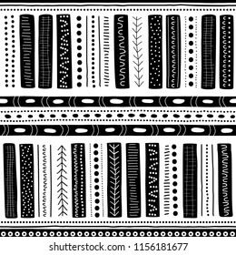 Vector seamless aboriginal pattern including ethnic Australian motive with black typical elements of dots, lines, arrows and lattice on white background