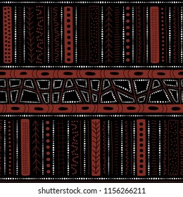 Vector seamless aboriginal pattern including ethnic Australian motive with white and brown typical elements of dots, lines, arrows and trapezes on black background