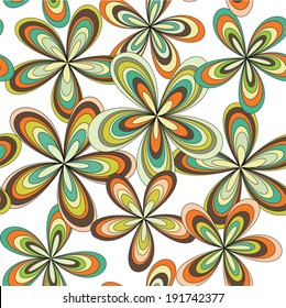 Vector seamless abstract 70's flowers pattern