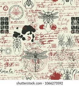 Vector seamless abstract background with insects in retro style. Beetles, dragonflies, ink stains, doodles and handwritten inscriptions on the old manuscripts. Can be used as Wallpaper, wrapping paper