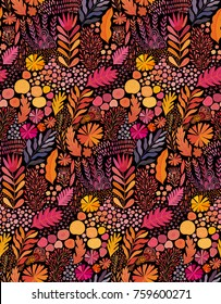 Vector seamless abstract botanical  ethnic painting. Artistic handmade batik print, floral oriental textile, fabric.